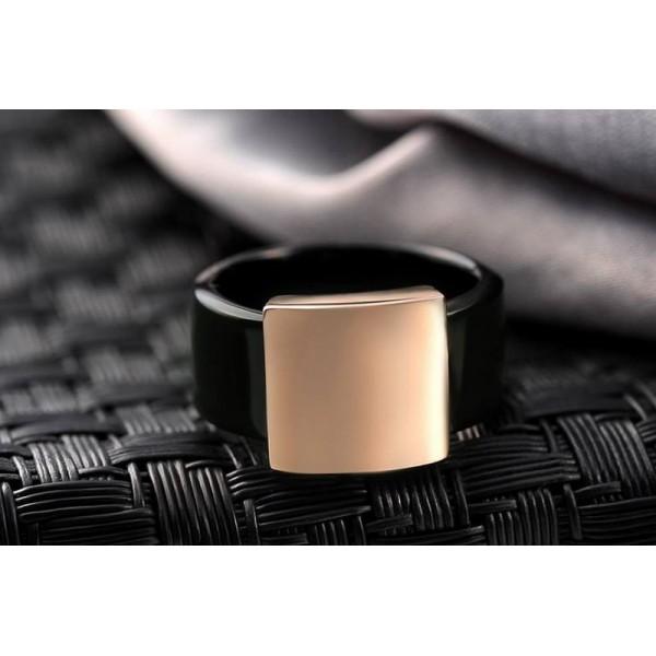 Black and Golden Titanium Ring for Men