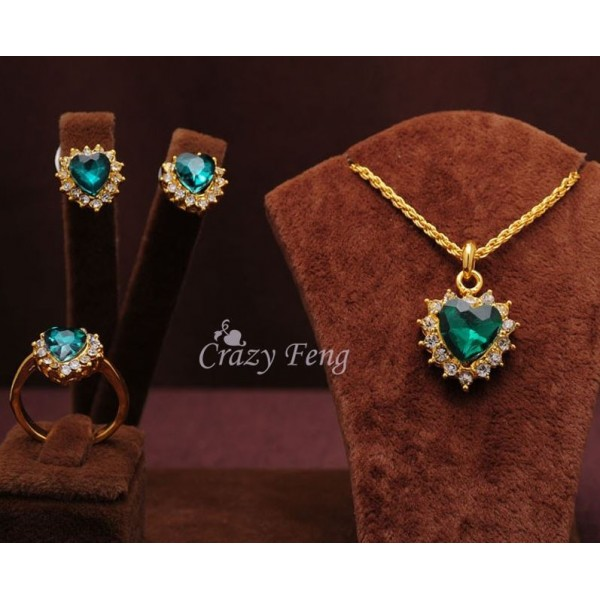 Gold Filled Sapphire Necklace With Earrings and Ring - Jewellery Set