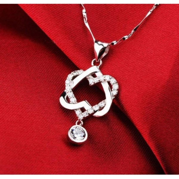 Double Heart Silver Pendant for Her