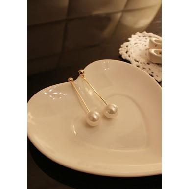 Long Section Pearl Earrings