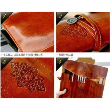 Vintage Leather Make Up Cosmetic Pouch