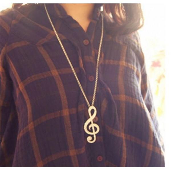 Music Note Long Chain Pendant
