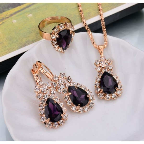 Mauve Waterdrop Jewelry Set for Ladies