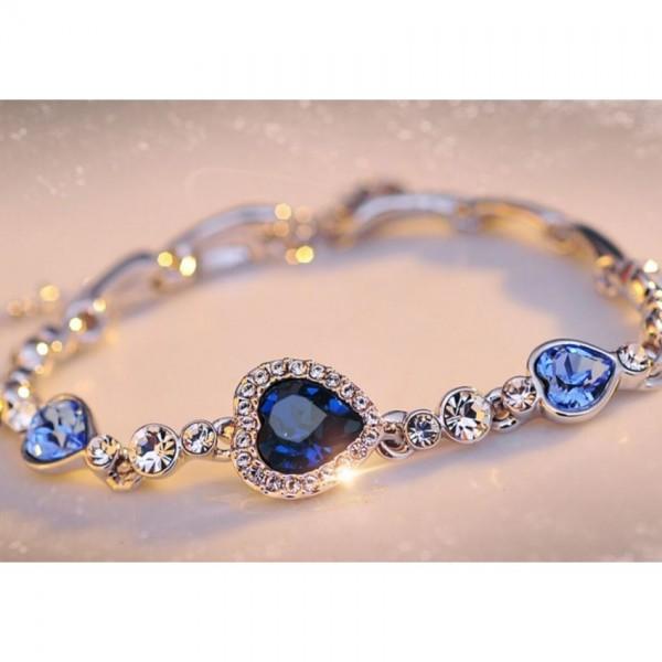 Ocean Blue Crystal Heart Bracelet