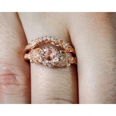 Crystal Zircon Rose Gold Pair Ring