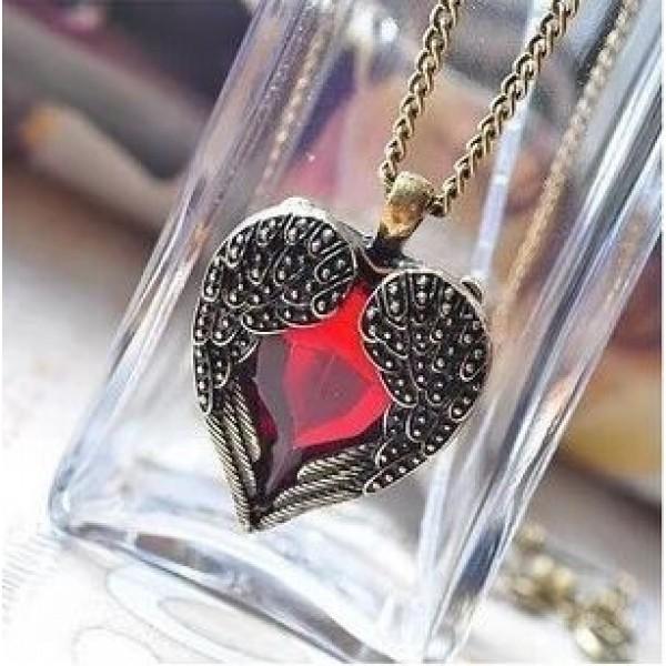 Vintage Wing Red Gem Heart Pendant