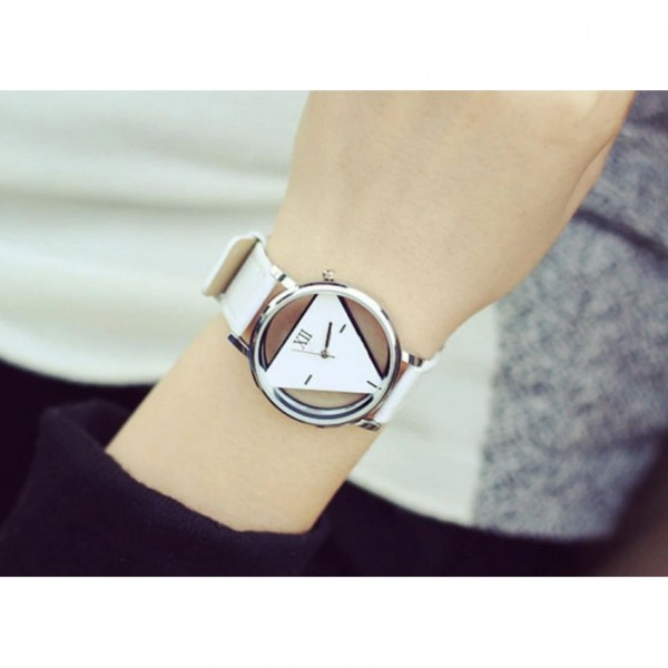 Retro Hollow Triangle Watch in White Strap