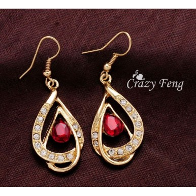 18k Gold Filled Red Ruby Necklace and Earrings
