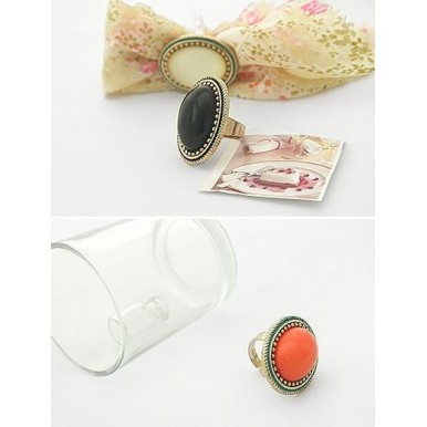 Pack of 3 Antique Oval Gem Retro Ring