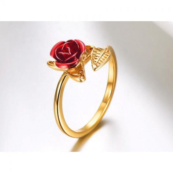 Red Rose Flower Leaves Resizable Ring