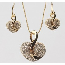 Austrian Crystal Gold Plated Heart Necklace and Earrings