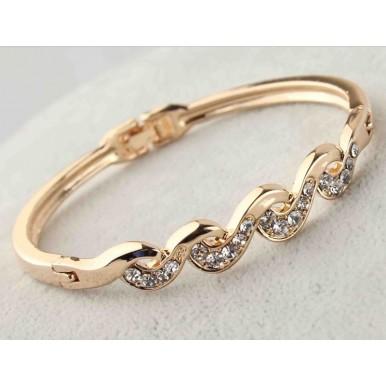 Gold Filled Twist Austrian Crystal Bracelet Bangle