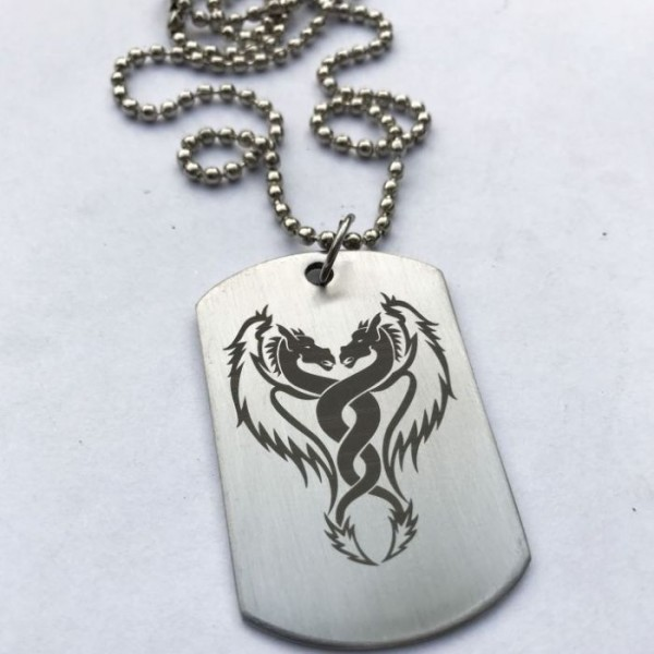 Fighting Horses Tag Pendant with Ball Chain
