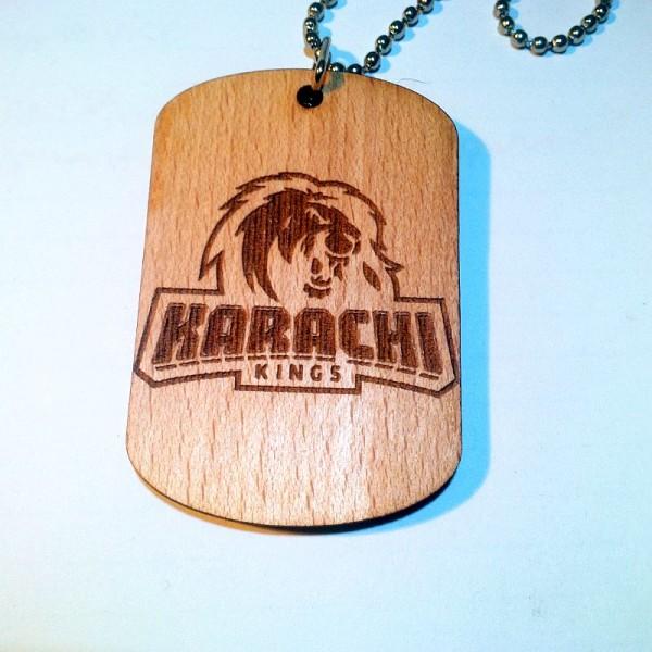 PSL Themed Karachi Kings-Laser engraved Wooden Pendant