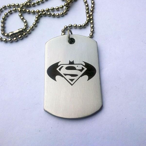 Batman - Superman Tag Necklace for Him
