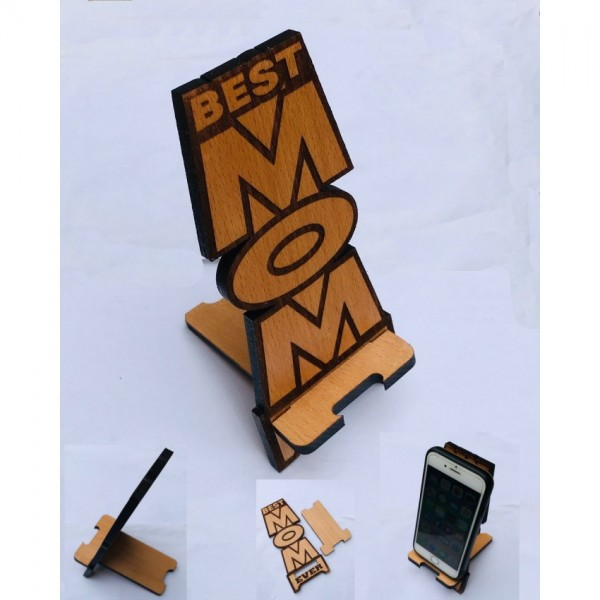 Best Mom Theme Solid Wood Mobile Holder