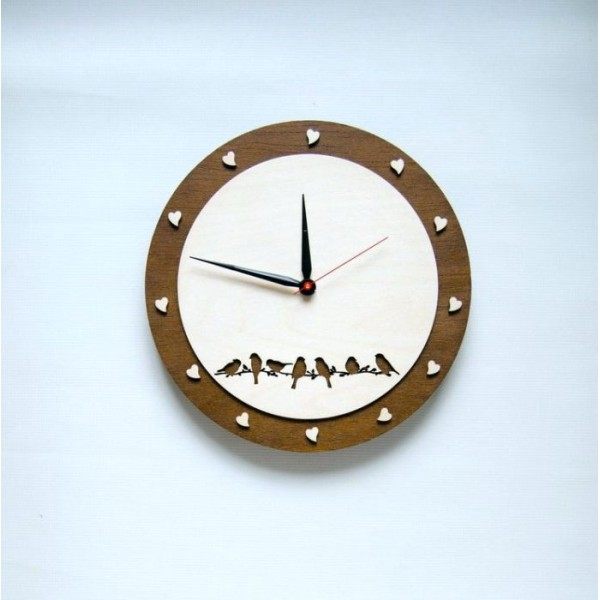 Birds and Hearts Wooden Wall Clock Round