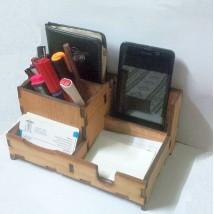 Laser Cut Multi Desk Organiser - Plywood