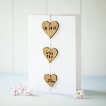 In love with you gift and greeting card-paper and wood