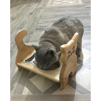 Cat Feeding Stand with Stainless Steel Fish Shaped Bowl