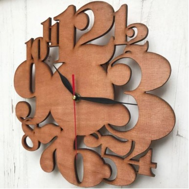 Creative Digits Wall Clock - Plywood