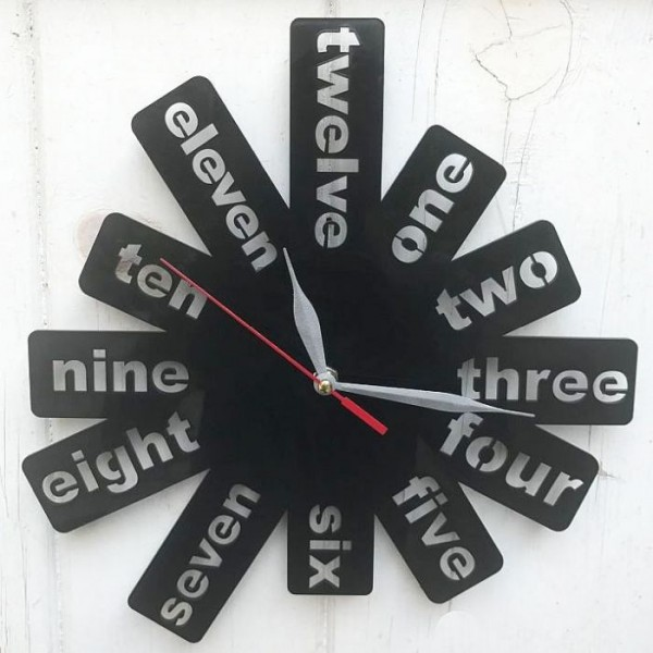 Creative Digits Acrylic Wall Clock - Black