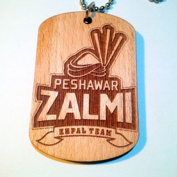 PSL Themed Peshawar Zalmi- Laser engraved Wooden Pendant