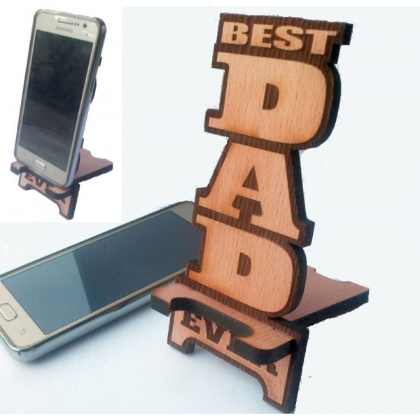 Best Dad Ever Cell Phone Holder - Solid Wood