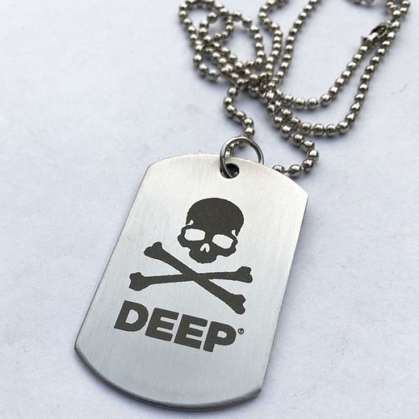 Deep Skull Gothic Tag Pendant with Ball Chain