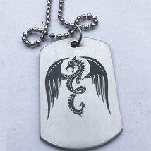 Angry Dragon Stainless Steel Tag with Ball chain