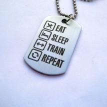 Eat-Drink-Sleep-Train Stainless Steel Dog Pendant