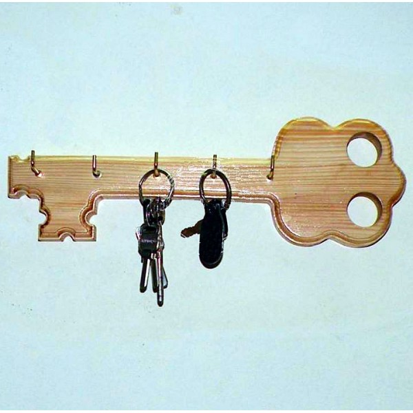 Key shaped Wooden Key Holder - Wall Hanging