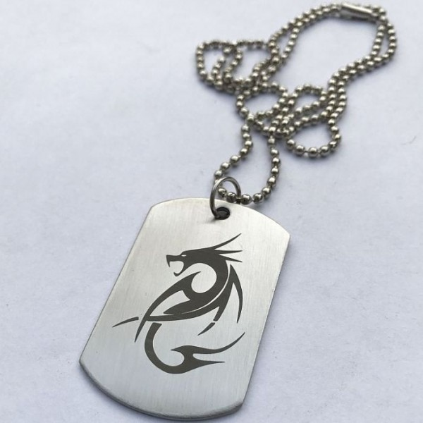 Fire Dragon Tag Pendant with Ball Chain