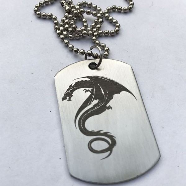 Flying Dragon Tag Pendant with Ball Chain