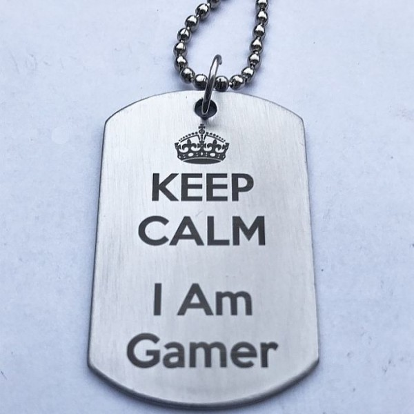 Keep Calm I am Gamer Stainless Steel Tag Pendant
