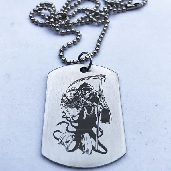 Grim Reaper Stainless Steel Tag with Ball Chain