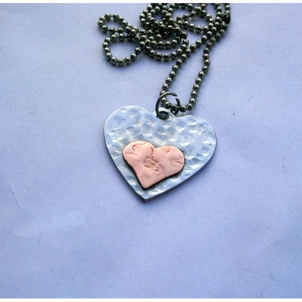 Hammered Antique Heart Pendant Stainless Steel and Copper