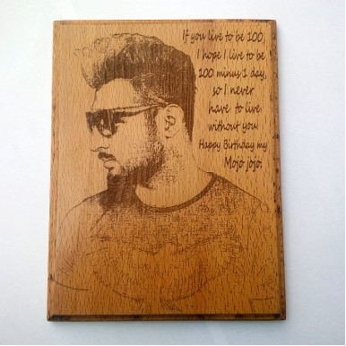 Personalised Photo and Text at wooden Plaque