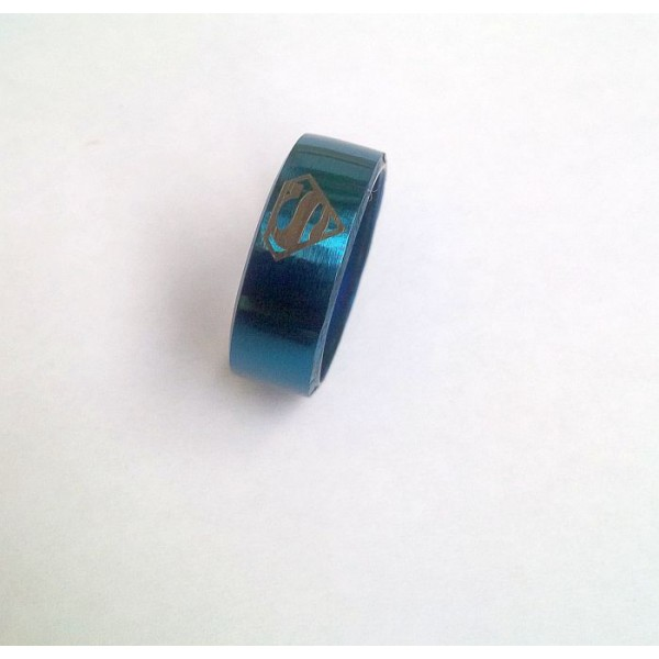 Stainless Steel Blue Ring with Superman Logo