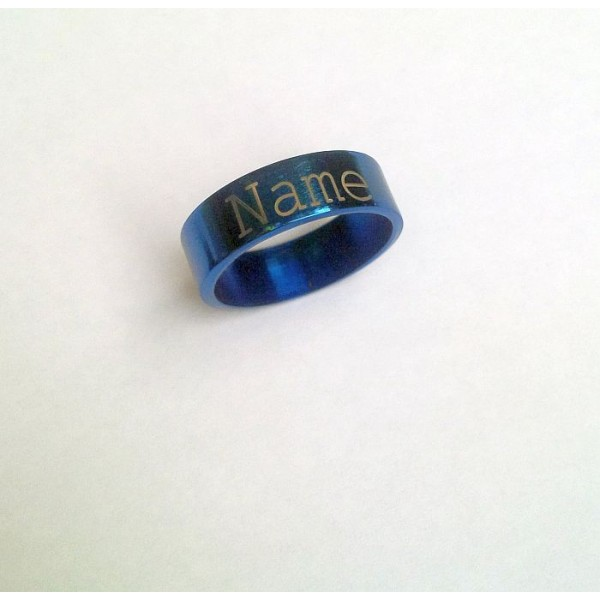 Stainless Steel YOUR name Blue Ring