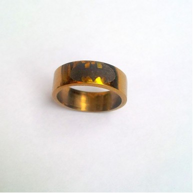 Stainless Steel Gold Plated Ring with Batman Logo