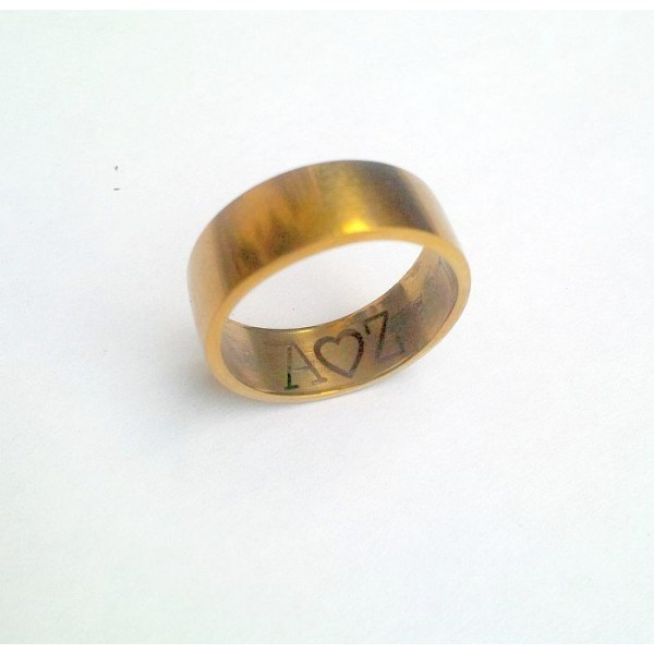 Stainless Steel Gold Plated Personalised Ring - Inside Text