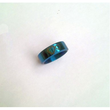 Stainless Steel Blue Ring - Two Hearts