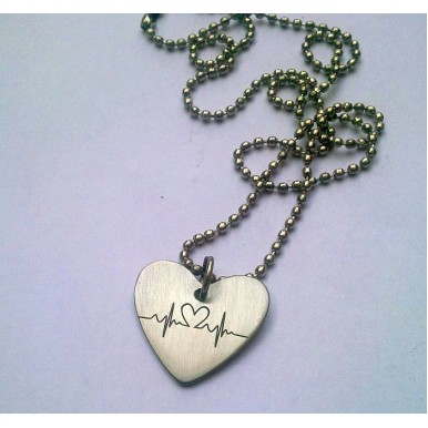 Heart Pendant with Heartbeat Sign - Stainless Steel