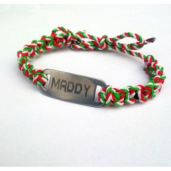 Braided Bracelet with YOUR name SS Tag