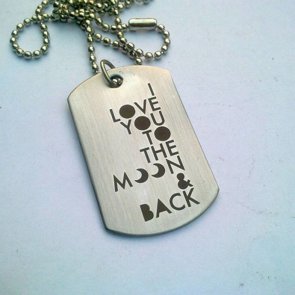 I love you to the moon and back Tag Pendant