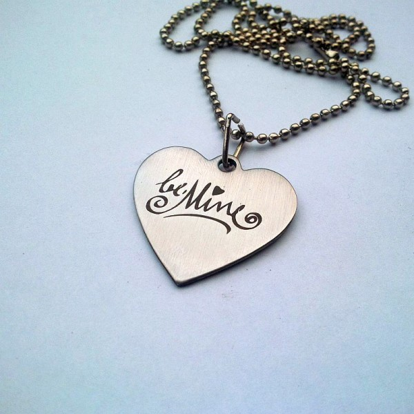 Valentine Day Special Heart Pendant - Be Mine Engraved