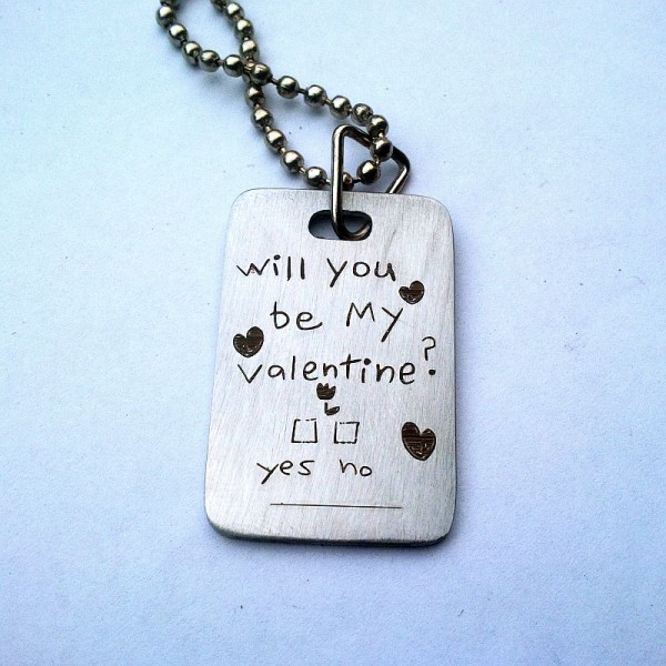 Valentine Day Special Heart Pendant - will you be my valentine Engraved