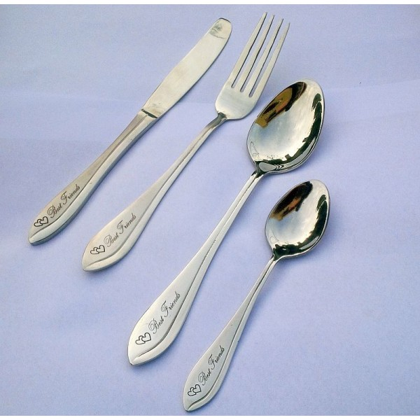 Stainless Steel Cutlery Gift Set of 4 pcs - Best Friends engraved