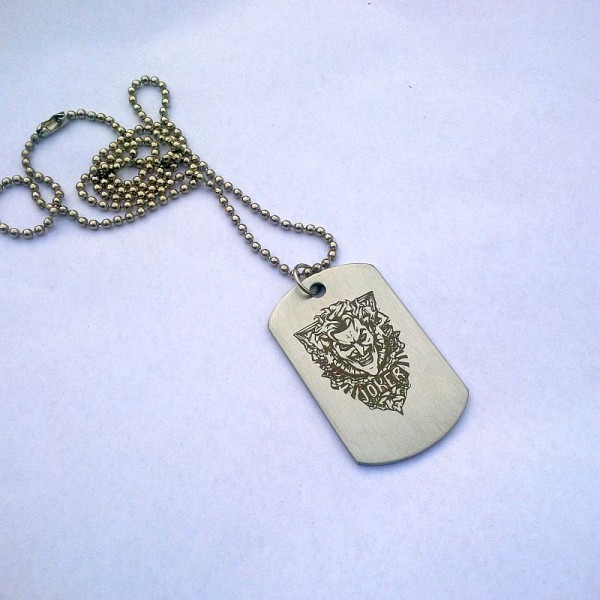 Stainless Steel Joker Tag Necklace with Ball Chain